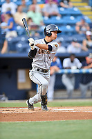 Charleston RiverDogs second baseman Hoy Jun Park (1) swings at a pitch during a game against the Asheville Tourists at McCormick Field on July 6, 2017 in Asheville, North Carolina. The Tourists defeated the RiverDogs 13-9. (Tony Farlow/Four Seam Images)
