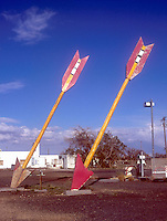 Giant Arrows at an old deserted truck stop on Route 66 in Twin Arrows, AZ