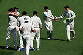 22nd March 2018, Eden Park, Auckland, New Zealand; International Test Cricket, New Zealand versus England, day 1;  The Black Caps celebrate the wicket of Dawid Malan off the bowling of Trent Boult