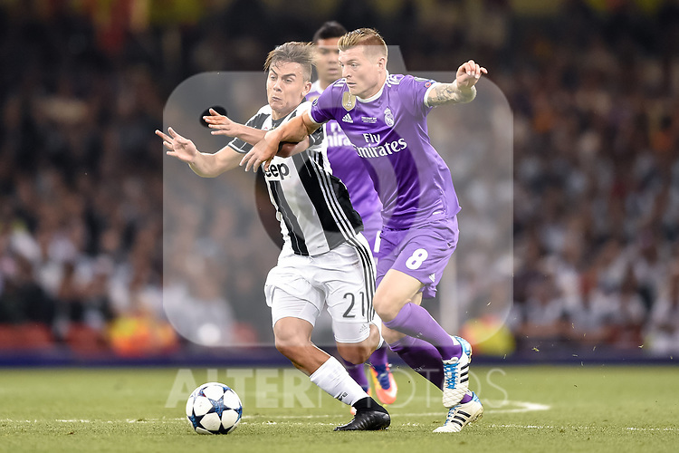 Toni Kroos of Real Madrid and Paulo Dybala of Juventus during the UEFA Champions League Final match between Real Madrid and Juventus at the National Stadium of Wales, Cardiff, Wales on 3 June 2017. Photo by Giuseppe Maffia.<br /> <br /> Giuseppe Maffia/UK Sports Pics Ltd/Alterphotos