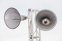 Bullhorn speakers are seen as Democratic presidential candidate Tom Steyer speaks at the Political Soapbox at the Iowa State Fair in Des, Moines, Iowa, on Sun., Aug. 11, 2019.