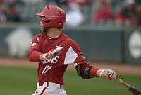 NWA Democrat-Gazette/ANDY SHUPE<br />Arkansas designated hitter Luke Bonfield follows through against South Carolina Saturday, April 14, 2018, during the second inning at Baum Stadium. Visit nwadg.com/photos to see more photographs from the game.