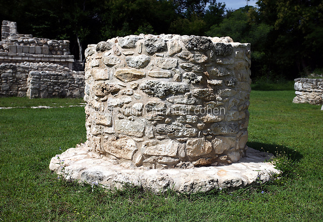 Platform with a drain which empties into the cenote (Sacred well), Temple of the Cenote Chen Mul, Mayapan, old Maya capital, c. 1250, destroyed during civil war in 1441, Yucatan, Mexico Picture by Manuel Cohen