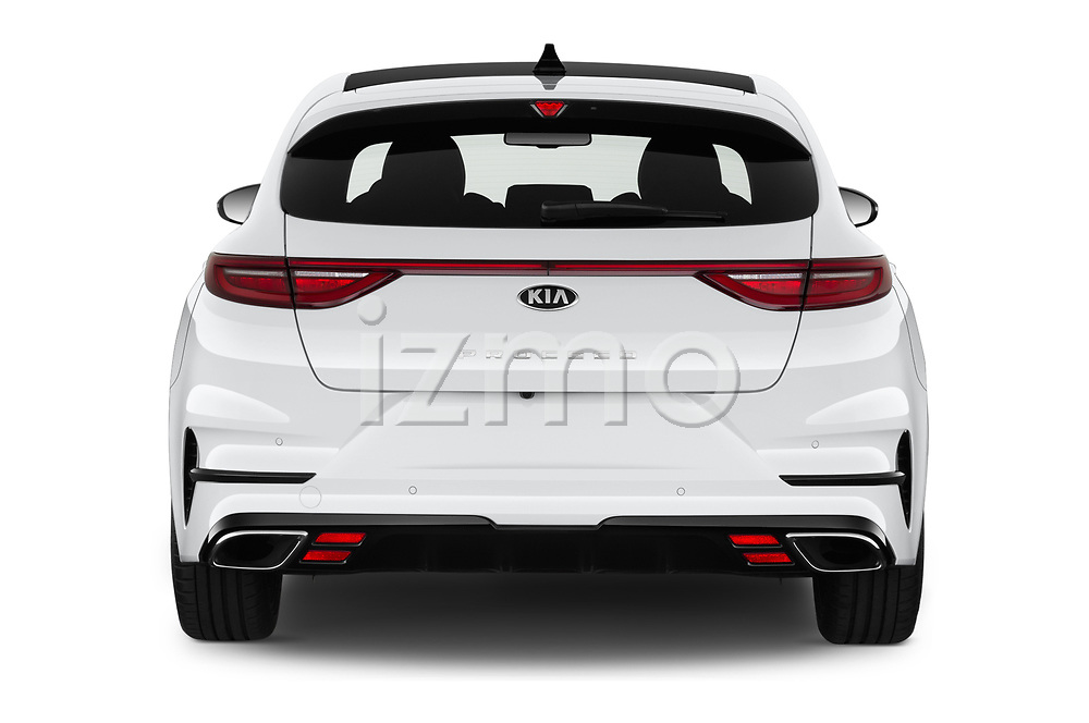 Straight rear view of 2019 KIA Proceed GT 5 Door Wagon Rear View  stock images