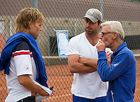 August 8, 2014, Netherlands, Rotterdam, TV Victoria, Tennis, National Junior Championships, NJK,  coaches Eddy Banks   Raemon Sluiter and Martin Bohm, l.t.r.<br /> Photo: Tennisimages/Henk Koster