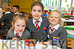 Peig Clifford, Olivia Ponti and Mia Skretny in Junior infants class in St Brendans NS Fenit on Monday.