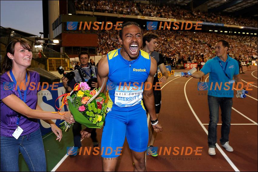 Aries Merritt (USA) - Record du monde 110 M Haies  .Bruxelles 7/9/2012 .IAAF Golden League meeting at the Memorial Van Damme Stadium.Atletica.Foto Insidefoto / Photo News / Panoramic.ITALY ONLY