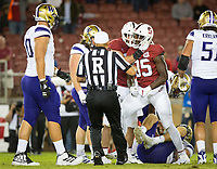 Stanford, CA - October 5, 2019: Tobe Umerah at Stanford Stadium. The Stanford Cardinal beat the University of Washington Huskies 23-13.