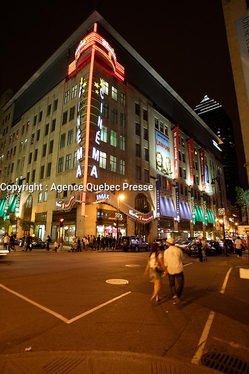 Montreal (Qc) Canada - July 12 2009 - Downtown Montreal at night :Scotia Bank Cinema