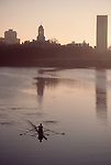 Rowing, Harvard University, rower in single racing shell at dawn, the Charles River, Cambridge, Massachusetts, New England,