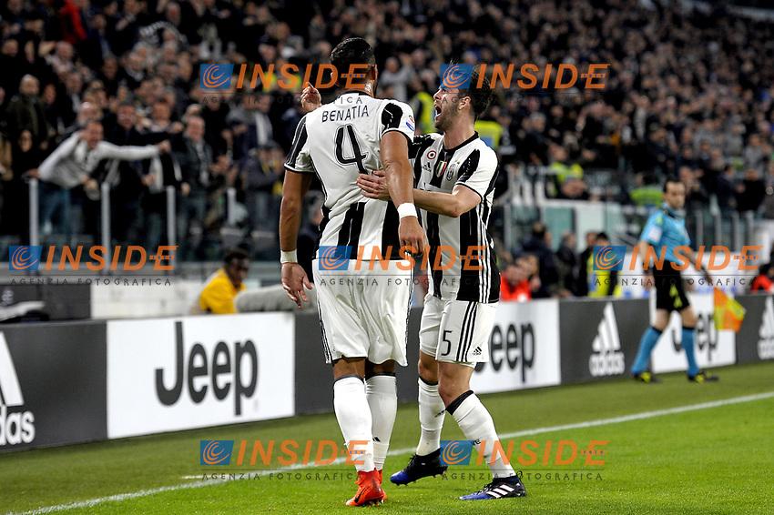 Esultanza Medhi Benatia e Miralem Pjanic Juventus dopo gol 1-0, goal celebration <br /> Torino 10-03-2017, Juventus Stadium, Football Calcio 2016/2017 Serie A, Juventus - Milan, Foto Filippo Alfero/Insidefoto