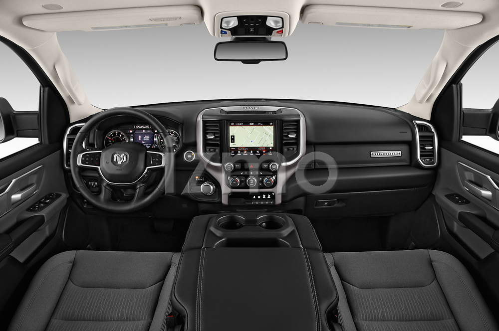 Stock photo of straight dashboard view of a 2019 Ram Ram 1500 Pickup Big Horn Crew Cab SWB 4 Door Pick Up