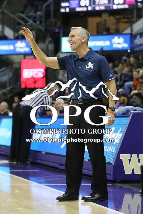 SEATTLE, WA - DECEMBER 17: Loyola Marymount head coach Mike Dunlap against Washington.  Washington won 75-63 over Loyola Marymount at Alaska Airlines Arena in Seattle, WA.