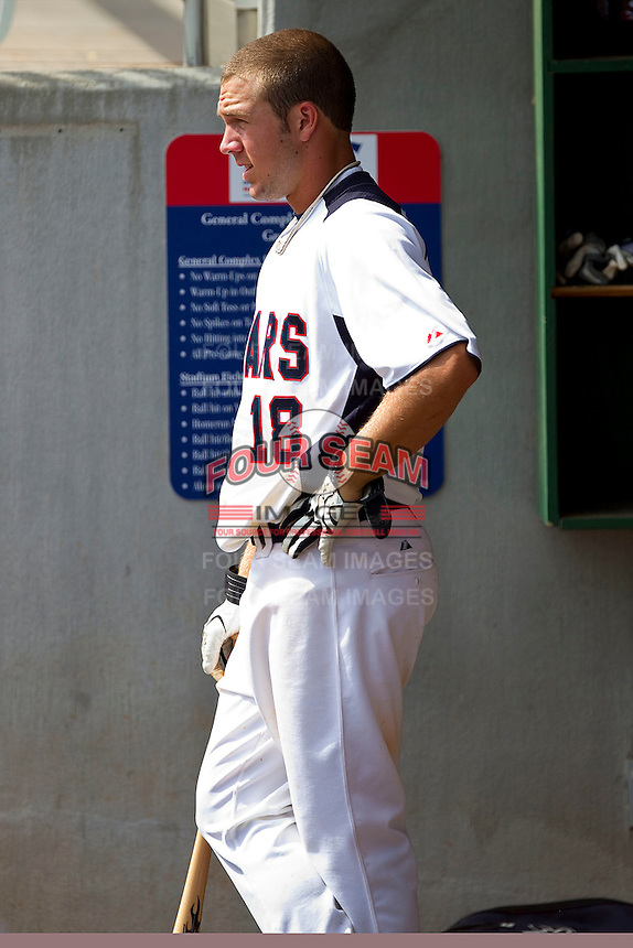 Alex Raburn #18 of STARS waits for his turn to bat during the game against NABF at the 2011 Tournament of Stars at the USA Baseball National Training Center on June 25, 2011 in Cary, North Carolina.  The Stars defeated NABF 7-1.  (Brian Westerholt/Four Seam Images)