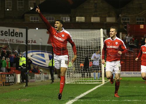 01.03.2016. Oakwell Stadium, Barnsley, England. Skybet League One. Barnsleys Ashley Fletcher celebrates his goal