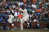 SAN FRANCISCO, CA - AUGUST 9:  Madison Bumgarner #40 of the San Francisco Giants bats against the Chicago Cubs during the game at AT&T Park on Wednesday, August 9, 2017 in San Francisco, California. (Photo by Brad Mangin)