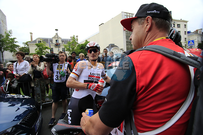 Andre Greipel (GER) Lotto-Soudal waits to hear who won the sprint finish of Stage 3 of the 2016 Tour de France, running 223.5km from Granville to Angers, France . 4th July 2016.<br /> Picture: Eoin Clarke | Newsfile<br /> <br /> <br /> All photos usage must carry mandatory copyright credit (&copy; Newsfile | Eoin Clarke)