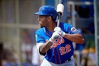 New York Mets Dominic Smith (22) in the on deck circle before an at bat during a Minor League Spring Training intrasquad game on March 29, 2018 at the First Data Field Complex in St. Lucie, Florida.  (Mike Janes/Four Seam Images)