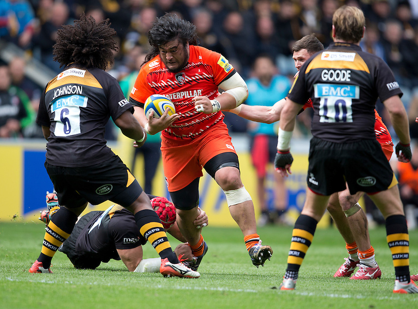 Leicester Tigers' Logovi'i Mulipola faces up to Wasps' Ashley Johnson<br /> <br /> Photographer Stephen White/CameraSport<br /> <br /> Rugby Union - Aviva Premiership - Wasps v Leicester Tigers - Saturday 9th May 2015 - Ricoh Arena - Coventry<br /> <br /> &copy; CameraSport - 43 Linden Ave. Countesthorpe. Leicester. England. LE8 5PG - Tel: +44 (0) 116 277 4147 - admin@camerasport.com - www.camerasport.com