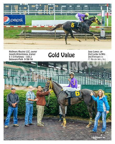 Gold Value winning at Delaware Park on 9/28/16