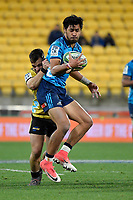 Blues' Melani Nanai in action during the Super Rugby - Hurricanes v Blues at Westpac Stadium, Wellington, New Zealand on Saturday 7 July 2018.<br /> Photo by Masanori Udagawa. <br /> www.photowellington.photoshelter.com