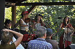 Caprice Rouge, performing on the Toshi Seeger Stage on Hoot Hill, on the third-and-final day of the 4th Annual Summer Hoot Festival, held at the Ashokan Center in Olivebridge, NY, on Sunday, August 28, 2016. Photo by Jim Peppler; Copyright Jim Peppler 2016.