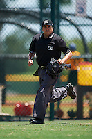 Umpire Josh Gilreath during a game between the GCL Braves and GCL Pirates on August 10, 2016 at Pirate City in Bradenton, Florida.  GCL Braves defeated the GCL Pirates 5-1.  (Mike Janes/Four Seam Images)