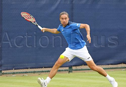 21.06.2016. Nottingham Tennis Centre, Nottingham, England. Aegon Open Mens ATP Tennis. Forehand from Alexandr Dolgopolov of Ukraine