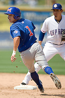 Iowa Cubs SS Matt Camp (1) heads to second base against the Round Rock Express on April 10th, 2011 at Dell Diamond in Round Rock, Texas.  (Photo by Andrew Woolley / Four Seam Images)