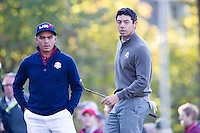 Richie Fowler (Team USA) and Rory McIlroy (Team Europe) on the 5th during the Saturday morning Foursomes at the Ryder Cup, Hazeltine national Golf Club, Chaska, Minnesota, USA.  01/10/2016<br /> Picture: Golffile | Fran Caffrey<br /> <br /> <br /> All photo usage must carry mandatory copyright credit (&copy; Golffile | Fran Caffrey)