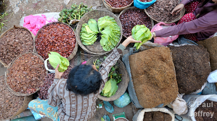 A woman lays out vegetables to sell in a market in the Cambodian village of Maung Rossey.