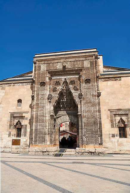 The Buruciye Medrese (Madrasah) built in 1271 by Dr. Muzaffer Burucerdî of Iran as a school teach physics, chemistry and astronomy. Its magnificent crown gate is one of the best examples of Seljuk architecture in Anatolia. The islamic Muqarnas corbelled vault is made up of a large number of miniature squinches, producing a sort of cellular structure. Sivas, Turkey