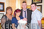 Baby Jessica O'Sullivan, Rathmore, pictured with her parents Linda and Gerard along with godparents Susan Collins and Nialy O'Sullivan at her christening celebrations held in Darby O'Gills hotel, Killarney on Saturday.......