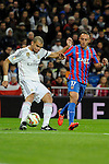 Real Madrid´s Pepe and Levante UD´s Jordi Xumetra Feliu during 2014-15 La Liga match between Real Madrid and Levante UD at Santiago Bernabeu stadium in Madrid, Spain. March 15, 2015. (ALTERPHOTOS/Luis Fernandez)