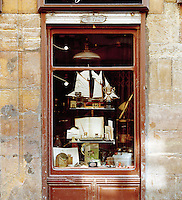 The window of an antiques shop in Oviedo, Asturias, Spain