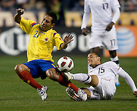 Jermaine Jones (15) of the USMNT tries to tackle the ball away from John Javier Restrepo (21) of Colombia during an international friendly at PPL Park in Chester, PA.  The U.S. tied Columbia, 0-0.
