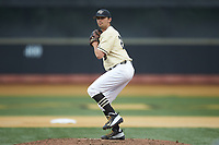 Wake Forest Demon Deacons relief pitcher Ben Casstevens (20) in action against the Miami Hurricanes at David F. Couch Ballpark on May 11, 2019 in  Winston-Salem, North Carolina. The Hurricanes defeated the Demon Deacons 8-4. (Brian Westerholt/Four Seam Images)