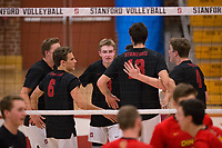 STANFORD, CA - January 2, 2018: Russell Dervay, Leo Henken, Kevin Rakestraw, Eric Beatty at Burnham Pavilion. The Stanford Cardinal defeated the Calgary Dinos 3-1.