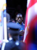 John Wall of the Wizards stand to attention during the singing of the National Anthem at the Verizon Center in Washington, DC on November 2, 2010.  Alan P. Santos/DC Sports Box