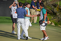 Rory McIlroy (NIR) and Matt Fitzpatrick (ENG) congratulate each other on the green on 18 following round 4 of the Arnold Palmer Invitational at Bay Hill Golf Club, Bay Hill, Florida. 3/10/2019.<br /> Picture: Golffile | Ken Murray<br /> <br /> <br /> All photo usage must carry mandatory copyright credit (© Golffile | Ken Murray)
