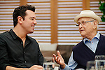 LOS ANGELES - MAY 30: Seth MacFarlane and Norman Lear chat over lunch at Baltaire in Los Angeles, California May 30, 2015.  (Photo by Kendrick Brinson)