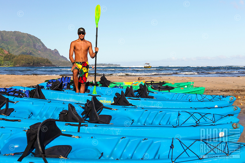 A kayak guide at Hanalei Beach on Kaua'i.