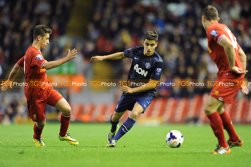 Andreas Pereira of Manchester United controls the ball - Liverpool Under-21 vs Manchester United Under-21 - Barclays Under-21 Premier League Football at Anfield, Liverpool - 02/05/14 - MANDATORY CREDIT: Greig Bertram/TGSPHOTO - Self billing applies where appropriate - 0845 094 6026 - contact@tgsphoto.co.uk - NO UNPAID USE