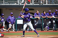 Zach Watson (9) of the LSU Tigers at bat against the Georgia Bulldogs at Foley Field on March 23, 2019 in Athens, Georgia. The Bulldogs defeated the Tigers 2-0. (Brian Westerholt/Four Seam Images)