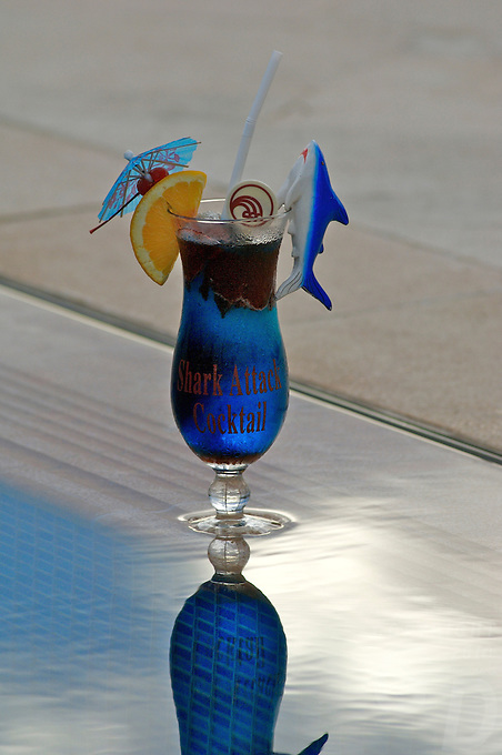 """THE SHARK COCKTAIL"" SPECIAL TROPICAL DRINK AT THE POOL SIDE, PALAU, MICRONESIA"