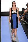 Carola walks runway in a crepe color blocked seamed cocktail dress, by Monique Lhuillier, from the Monique Lhuillier Spring 2012 collection fashion show, during Mercedes-Benz Fashion Week Spring 2012.
