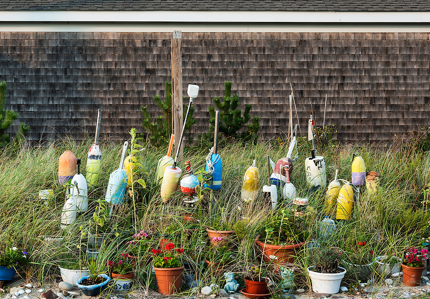 potted plants and buoy display, Cape Cod, Massachusetts, USA