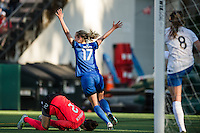 Seattle, Washington - Saturday, July 2nd, 2016: Seattle Reign FC midfielder Beverly Yanez (17) celebrates a goal during a regular season National Women's Soccer League (NWSL) match between the Seattle Reign FC and the Boston Breakers at Memorial Stadium. Seattle won 2-0.