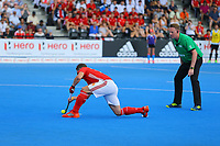 England's Mark Gleghorne opens the scoring from a penalty shot during the Hockey World League Semi-Final match between England and Argentina at the Olympic Park, London, England on 18 June 2017. Photo by Steve McCarthy.