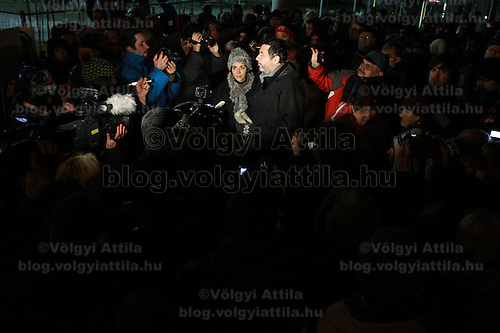 Flashmob to show support for hunger strikeres protesting against unethical manipulations in Hungarian media in Budapest, Hungary on December 28, 2011. ATTILA VOLGYI